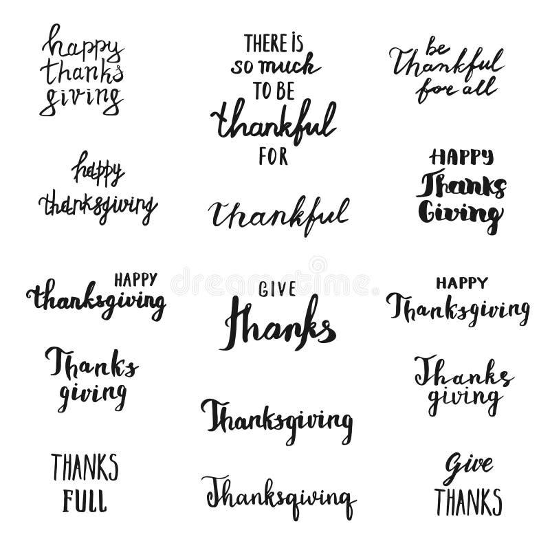 El sistema del vector de acción de gracias sobrepone poner letras, etiquetas exhaustas de la mano libre illustration