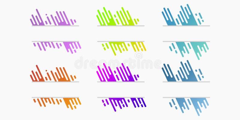 El sistema del vector de banderas de papel cortadas con pendiente dinámica redondeó líneas ilustración del vector