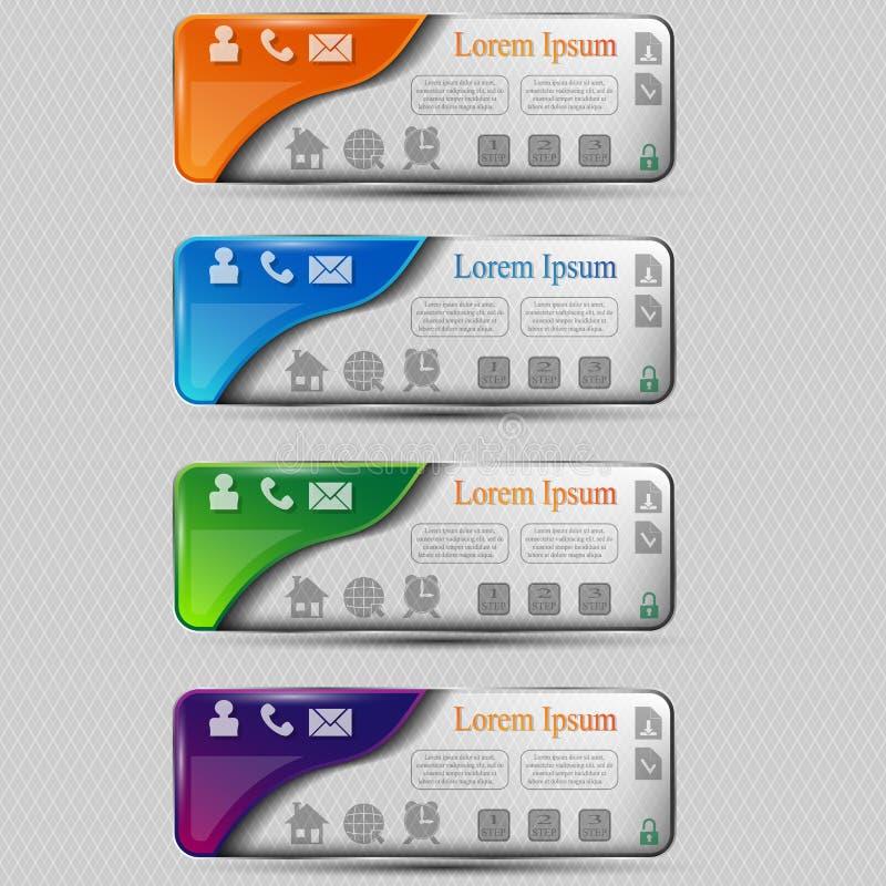 El sistema del vector de banderas transparentes coloreadas con diverso símbolo stock de ilustración