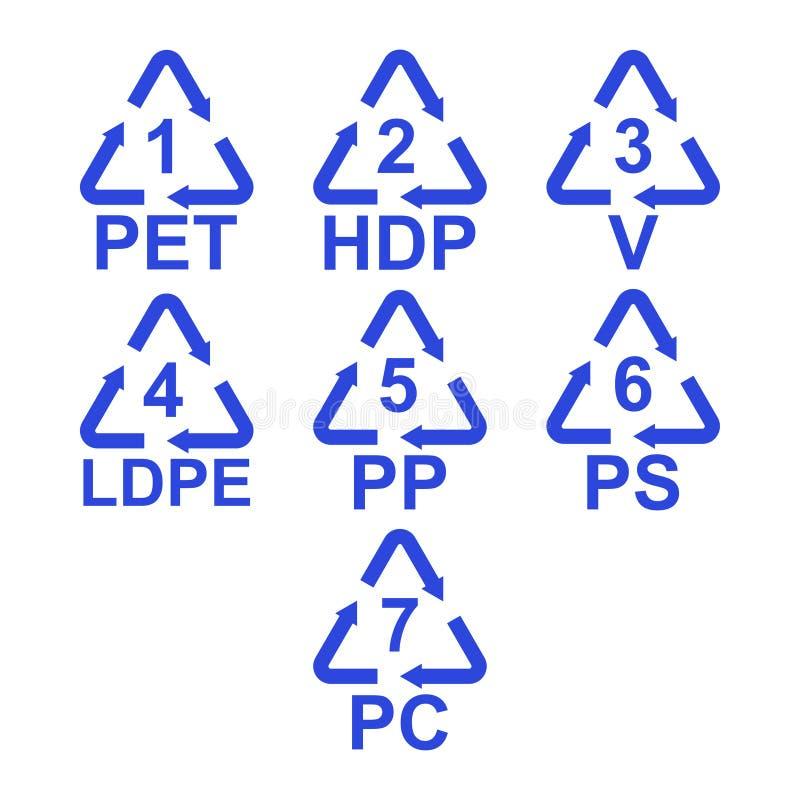 El sistema del vector de diferente recicla los iconos para la botella plástica y el otro paquete Aislado en blanco libre illustration