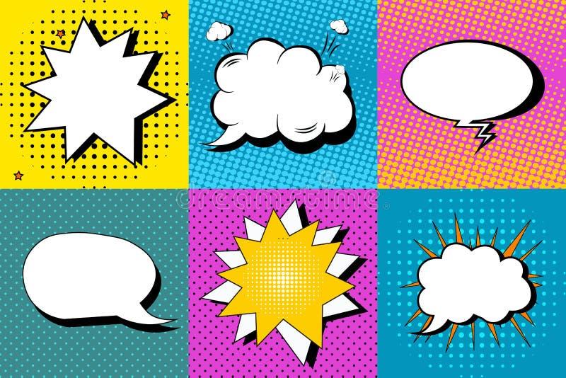 El sistema del vector de discurso cómico burbujea en estilo del arte pop Diseñe los elementos, nubes del texto, plantillas del me stock de ilustración