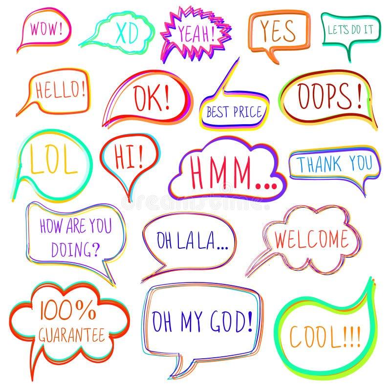 El sistema del VECTOR de discurso y de pensamiento coloridos exhaustos del vector burbujea stock de ilustración