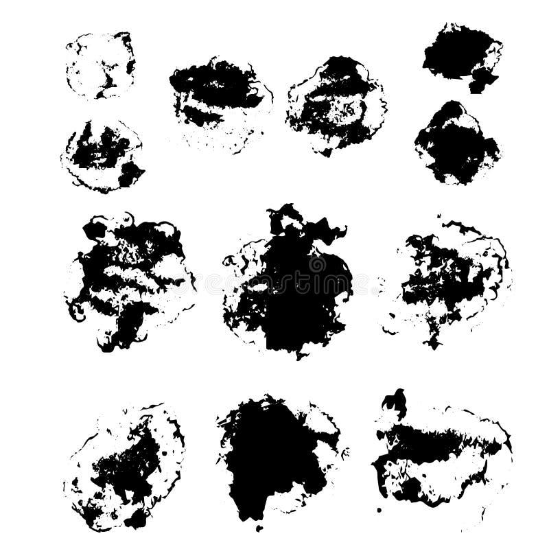 El sistema del vector de diversos cepillos del grunge stock de ilustración