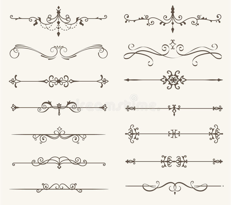 El sistema del vector de elementos, de la línea y de la página decorativos gobierna el marco stock de ilustración