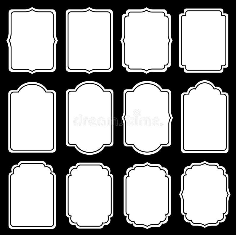 El sistema del vector de etiquetas decorativas del vintage, los marcos para el libro de recuerdos y la invitación de la boda dise ilustración del vector