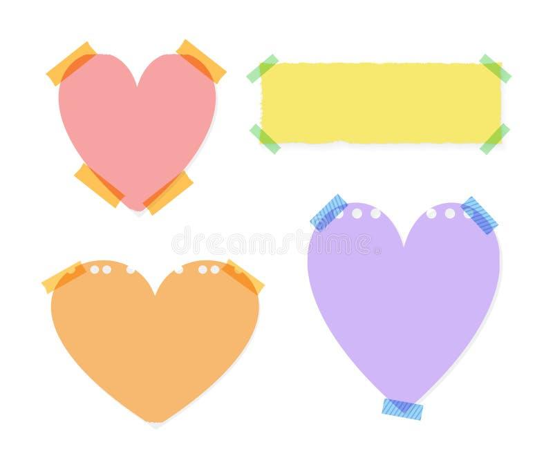 El sistema del vector de etiquetas engomadas en forma de corazón de la nota aisló, las notas coloridas, plantilla linda del ejemp ilustración del vector