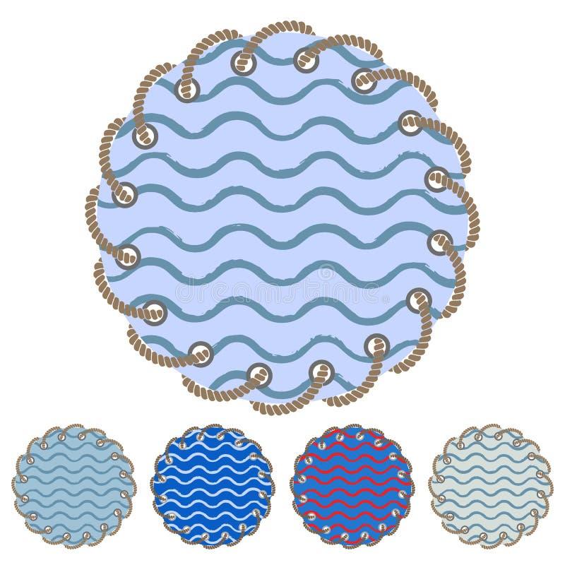 El sistema del vector de etiquetas engomadas y de etiquetas redondas con el mar agita stock de ilustración