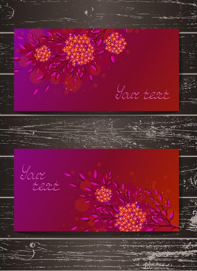 El sistema del vector de invitaciones de las plantillas o de withhand de las tarjetas de felicitación dibujado florece stock de ilustración