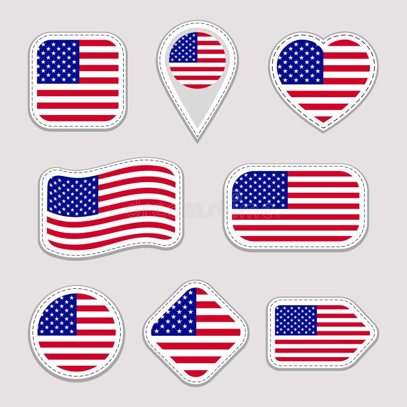 El sistema del vector de la bandera de los E.E.U.U. Colección americana de las etiquetas engomadas de las banderas nacionales Ico stock de ilustración