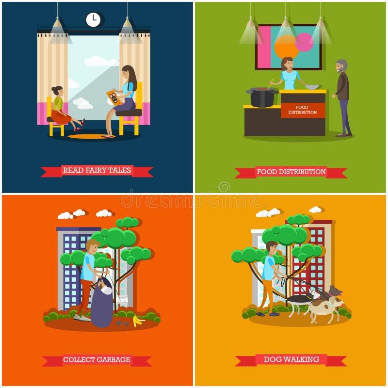 El sistema del vector de la organización voluntaria mantiene los carteles del concepto, estilo plano ilustración del vector