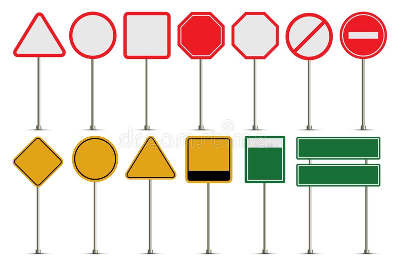 El sistema del vector de la señal de tráfico sube a la colección stock de ilustración