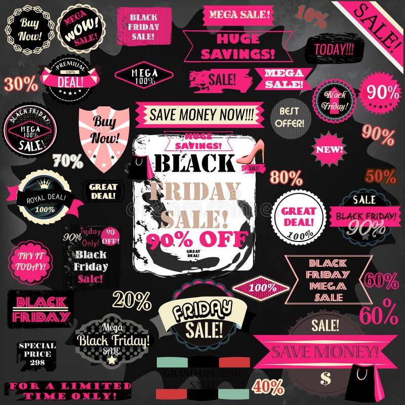 El sistema del vector de las etiquetas de Black Friday y las cintas diseñan el sistema libre illustration