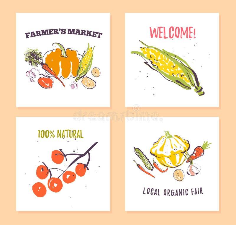El sistema del vector de las tarjetas dibujadas mano para el festival de la comida, el mercado de los granjeros y la feria de la  libre illustration