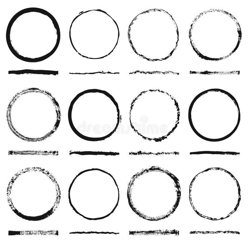 El sistema del vector de los bastidores redondos forma y textura descuidadas hizo grunge stock de ilustración