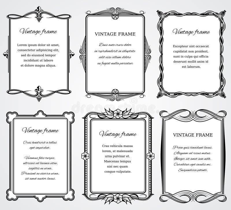 El sistema del vector de los marcos de la frontera del victorian del vintage para el certificado y el libro diseñan stock de ilustración