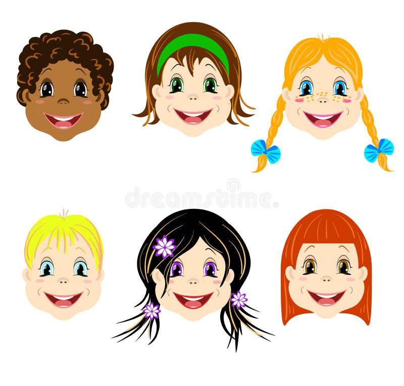 El sistema del vector de niños dirige con diversos tipos de corte de pelo y los colores de los ojos hacia avatares e iconos stock de ilustración