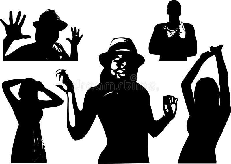 El sistema del vector de siluetas negras de una muchacha y los hombres son cintura-profundos en diversas actitudes ilustración del vector