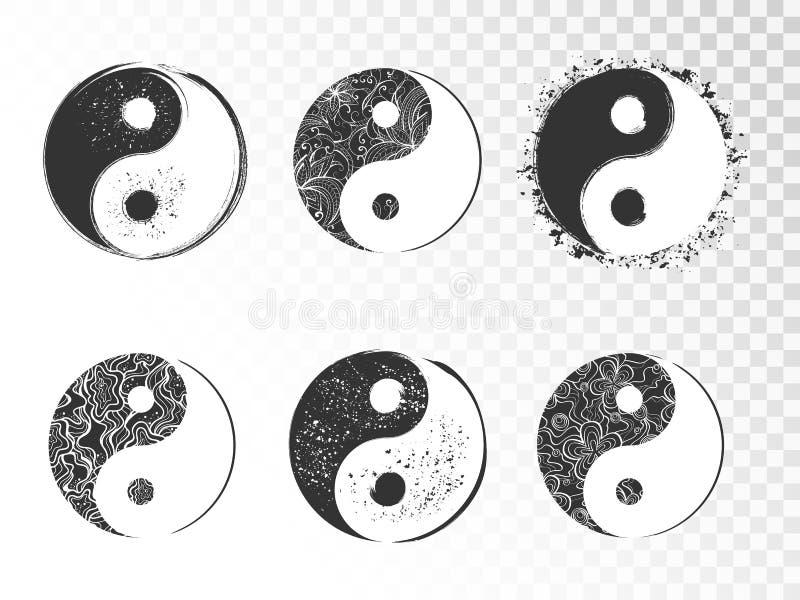 El sistema del vector de yin dibujado mano yang firma libre illustration