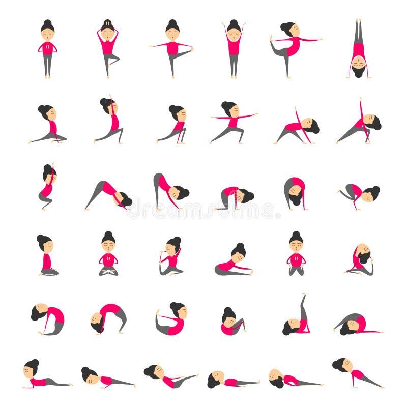 El sistema del vector de yoga presenta para la salud y la flexibilidad Ejercicios de la yoga de la mujer para la clase o el estud libre illustration