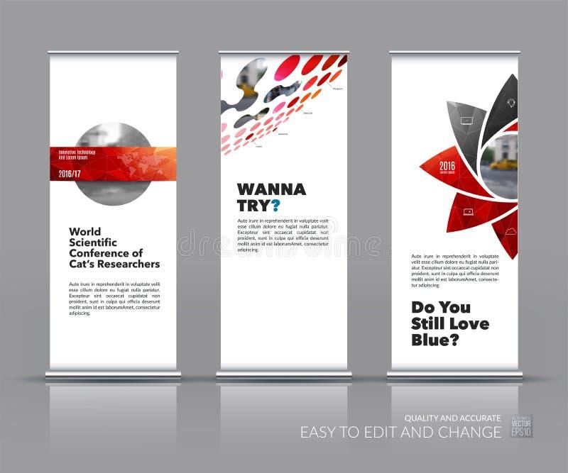 El sistema del vector del negocio de moderno rueda para arriba diseño del soporte de la bandera con g libre illustration