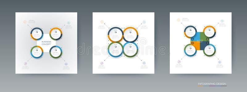 El sistema del vector, etiqueta del círculo del infographics 3D con las flechas firma y 4 opciones stock de ilustración