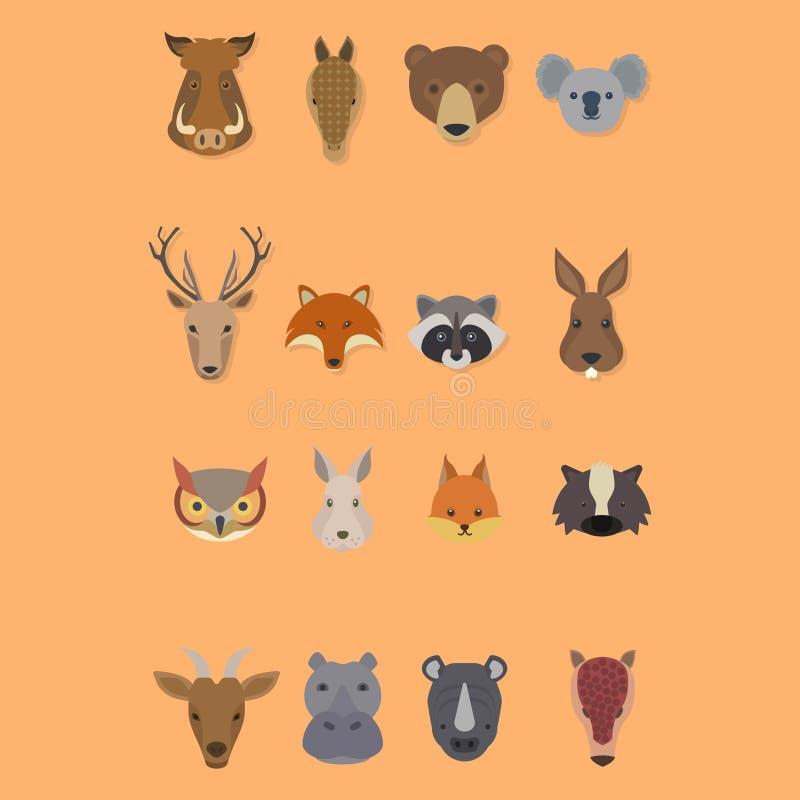 El sistema del vector principal animal del diseño del logotipo aisló stock de ilustración