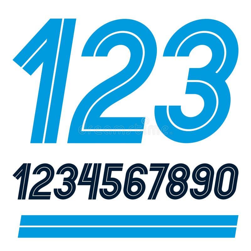 El sistema del vector redondeó los números hechos con las líneas blancas, puede ser uso ilustración del vector