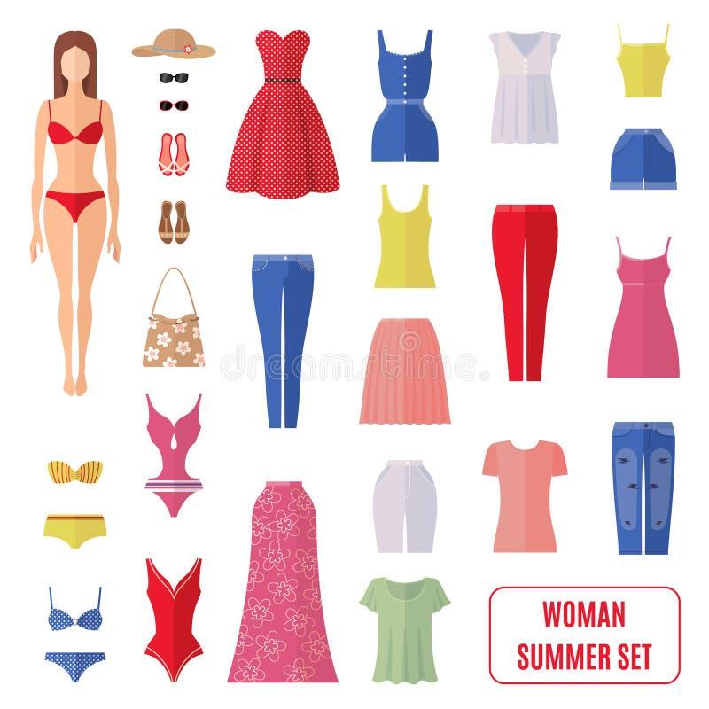 El sistema del verano de mujeres viste iconos en estilo plano ilustración del vector