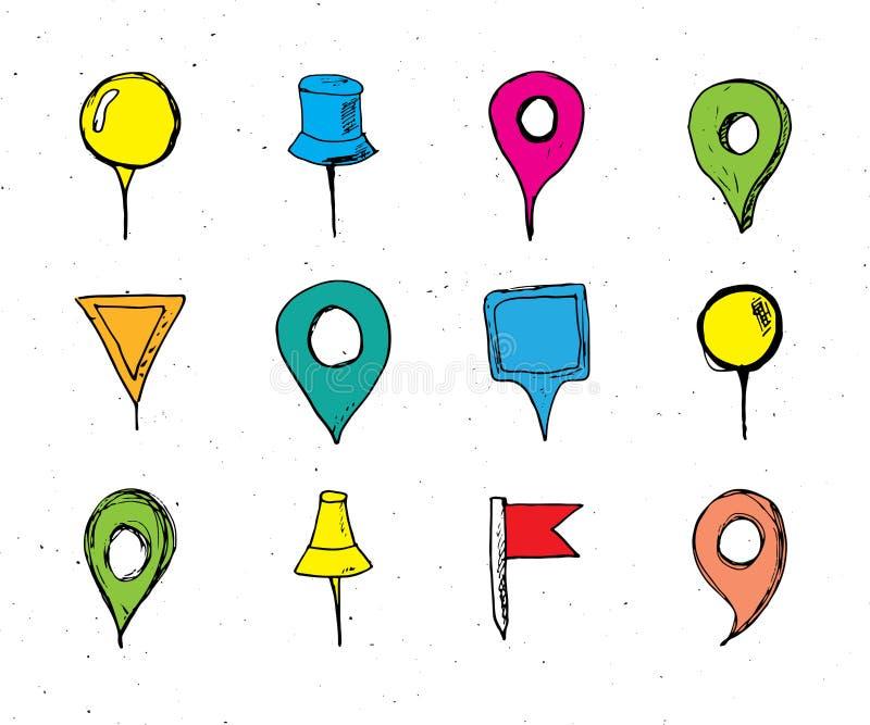 El sistema dibujado mano del bosquejo de los indicadores del mapa, pernos de la navegación garabatea el illstration del vector en libre illustration