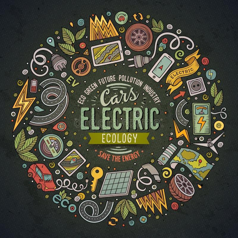 El sistema dibujado mano del vector del garabato de la historieta de los coches eléctricos se opone ilustración del vector