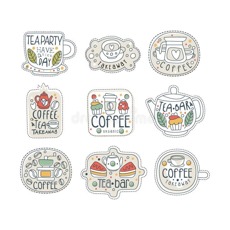 El sistema dibujado mano linda de las etiquetas del café y del té para la calle hace compras, café o barra Llévese la tienda Líne ilustración del vector