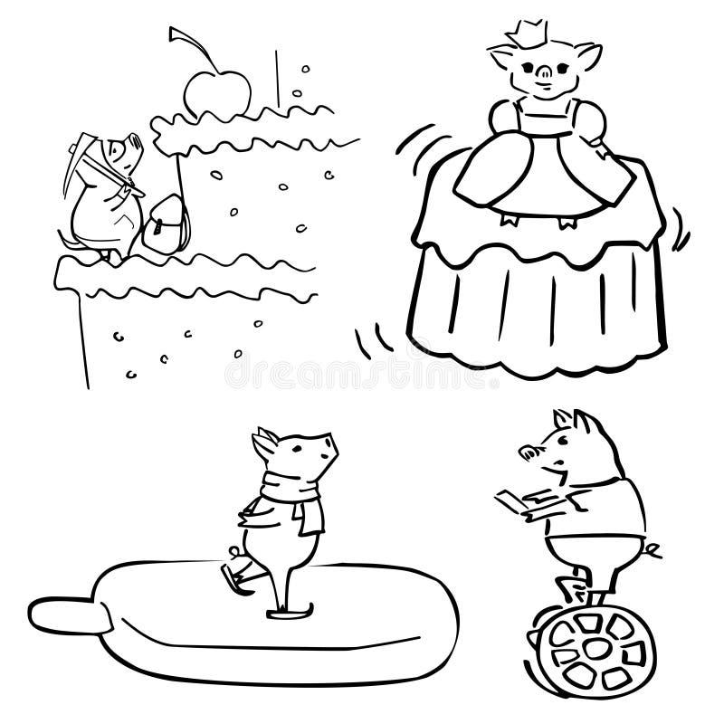 El sistema divertido del vector lindo vistió cerdos divertidos stock de ilustración