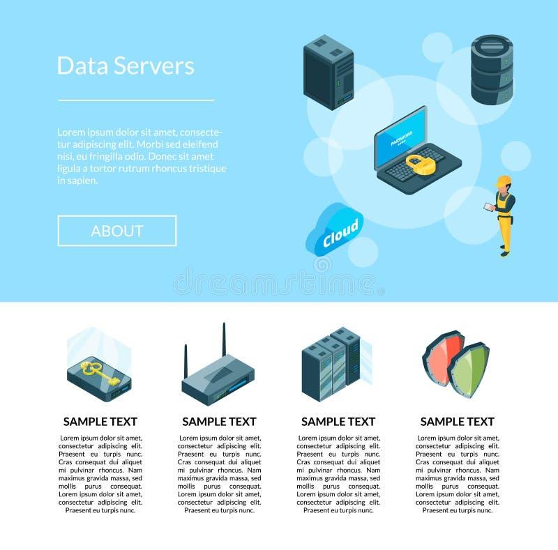 El sistema electrónico del vector de iconos del centro de datos pagina el ejemplo libre illustration