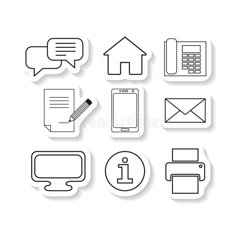 El sistema entra en contacto con iconos de la etiqueta engomada del mensaje ilustración del vector