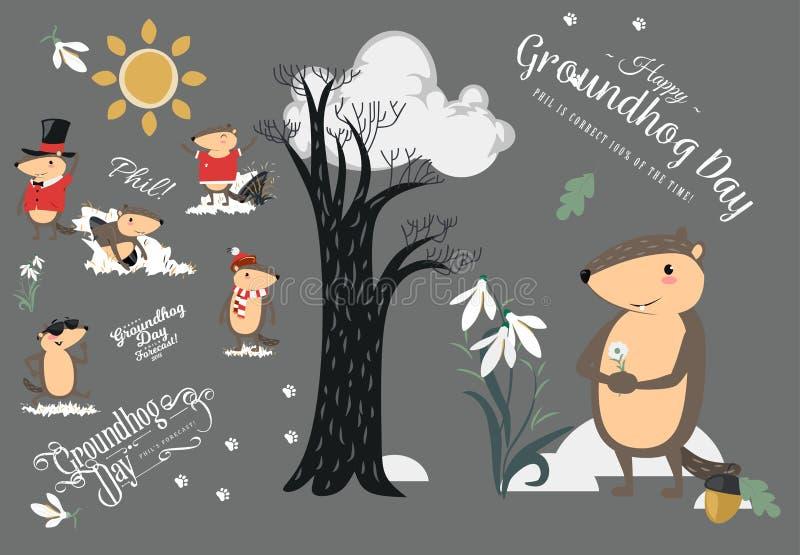 El sistema feliz del día de la marmota, marmota linda en cilindro sostiene la flor - snowdrop blanco, predicción del tiempo, anim stock de ilustración