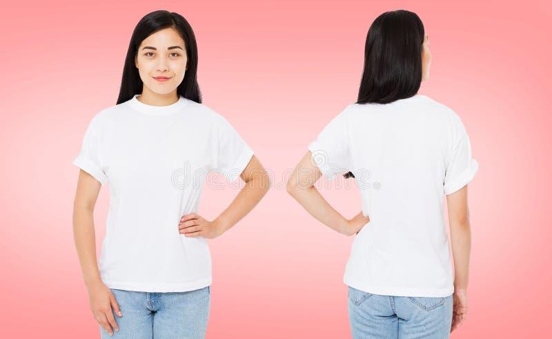 El sistema, frente del collage y detrás ve a la mujer bastante coreana, asiática en la camiseta aislada en el fondo rosado, en bl imagen de archivo