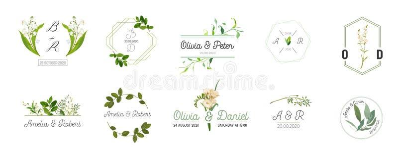 El sistema grande de casarse los logotipos colección del monograma, las plantillas rústicas y florales de la acuarela exhausta de libre illustration