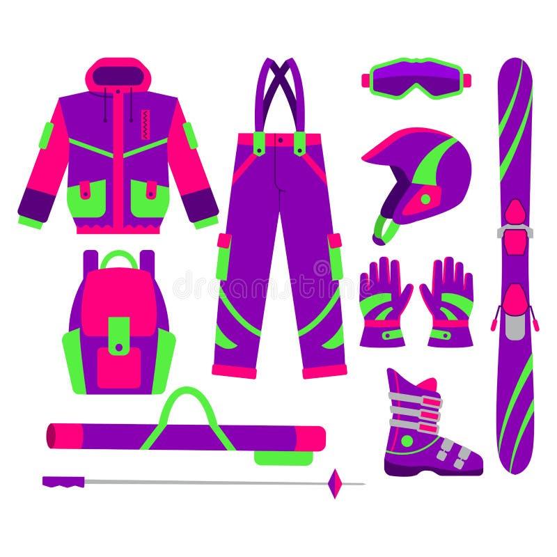 El sistema grande de esquí plano del vector del estilo se opone ilustración del vector