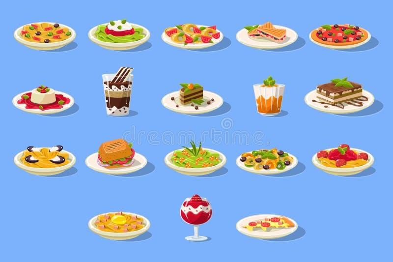 El sistema grande de la comida, cusine italiano sirve la pizza, pastas y los postres vector el ejemplo ilustración del vector