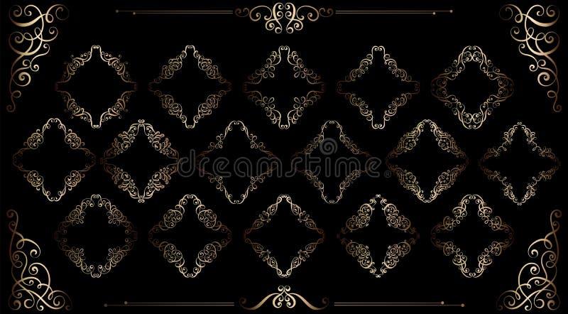 El sistema grande de vintage del oro diseñó marcos caligráficos y la decoración de los flourishes, compleja y exquisita para la i libre illustration