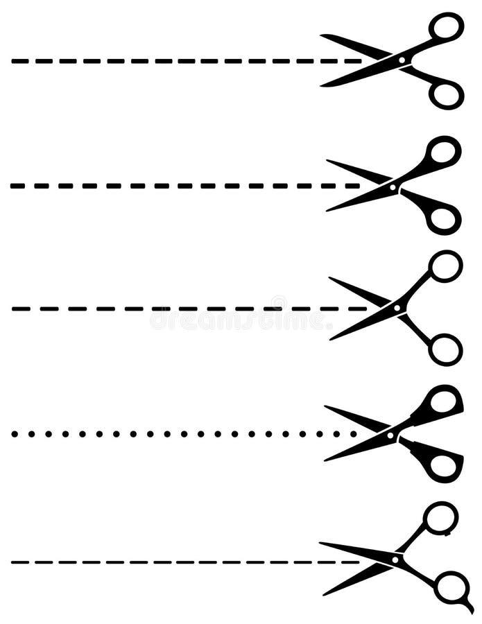 El sistema grande del corte scissors con las líneas de corte stock de ilustración