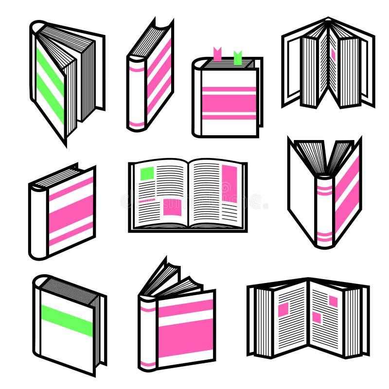 El sistema grande del esquema negro elegante reserva en diversas posturas con los elementos rosados y verdes coloridos stock de ilustración