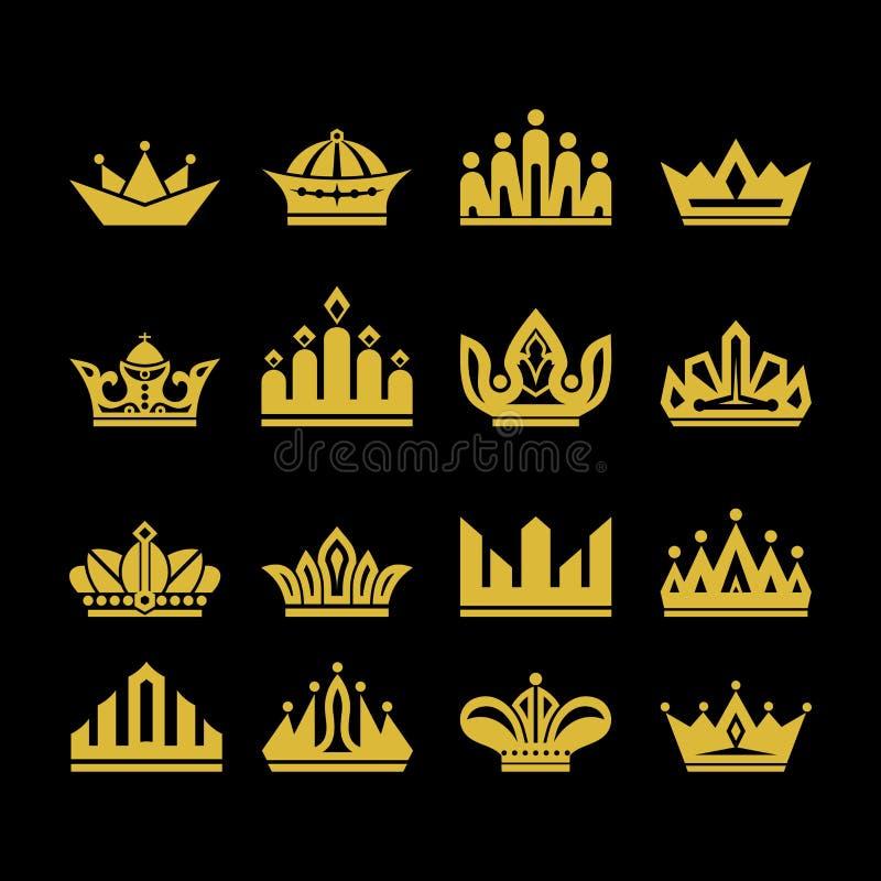 El sistema grande del vector corona, colección de elementos del diseño para crear logotipos stock de ilustración