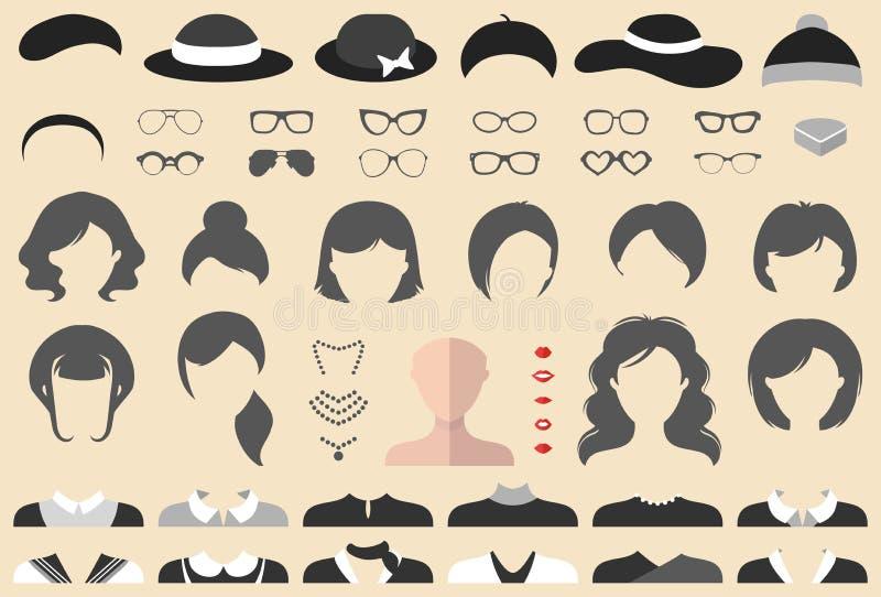 El sistema grande del vector de viste para arriba al constructor con diversos cortes de pelo de la mujer, los vidrios, los labios ilustración del vector
