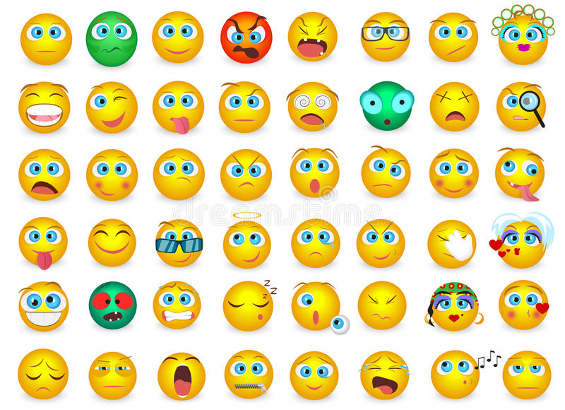 El sistema grande mega de la colección de Emoji hace frente a los iconos de la emoción aislados Ilustración del vector stock de ilustración