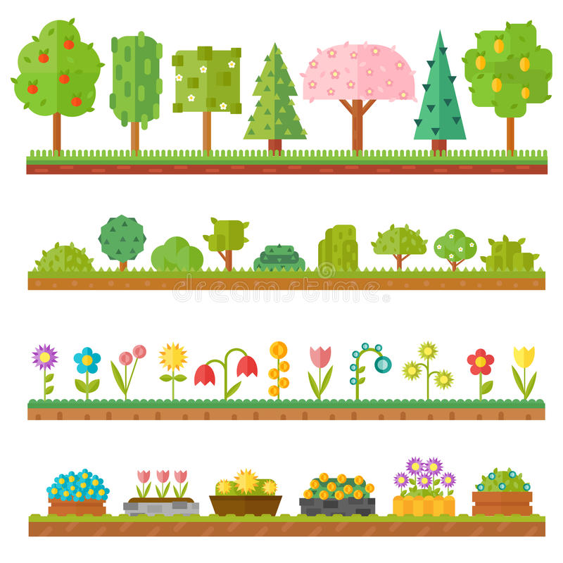 El sistema hermoso de moda de elementos planos del bosque de las plantas incluye la hierba, bayas, arbustos y los árboles vector  libre illustration