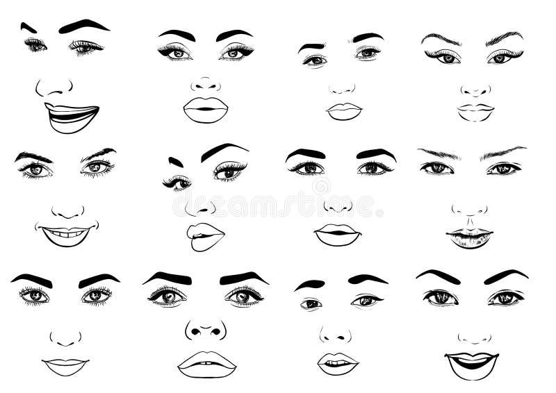 El sistema hermoso del retrato de la mujer de la moda para compone en fondo Ilustración EPS 10 del vector stock de ilustración