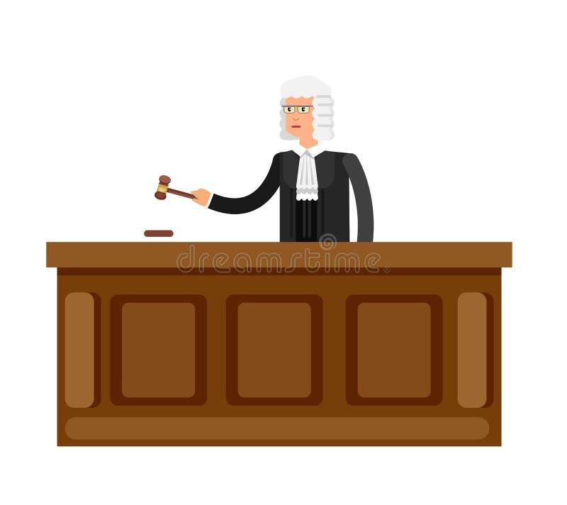 El sistema horizontal de la bandera de la ley con los elementos de sistema judicial aisló el ejemplo del vector foto de archivo