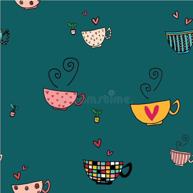 El sistema inconsútil del dibujo de la mano del garabato del fondo de tazas de café en diverso modelo diseña en fondo verde libre illustration