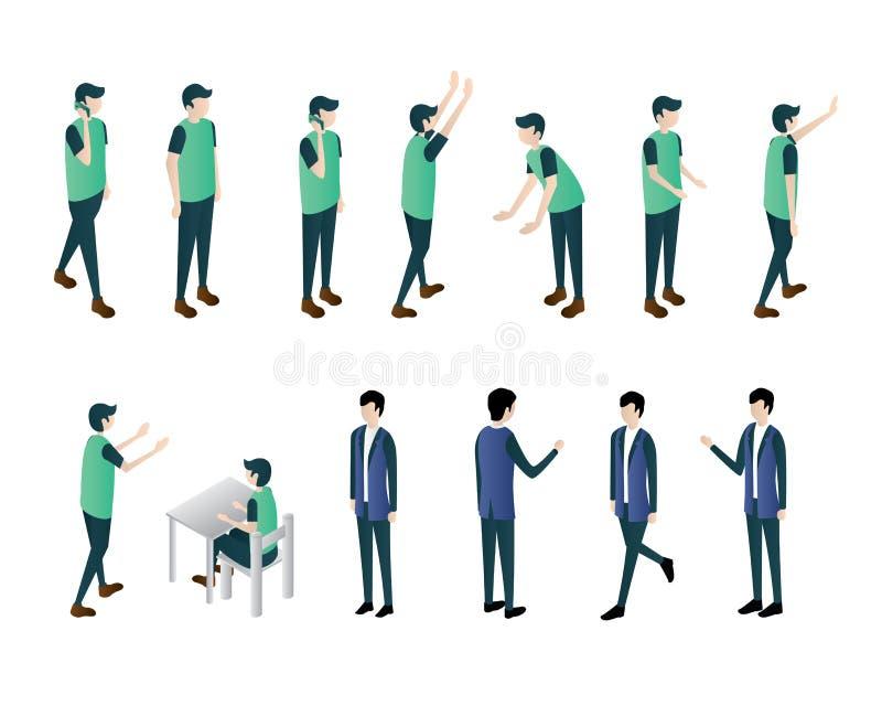 El sistema isométrico del vector del ejemplo del hombre, móvil de la llamada del paseo sienta el ejemplo del trabajo de la mirada ilustración del vector